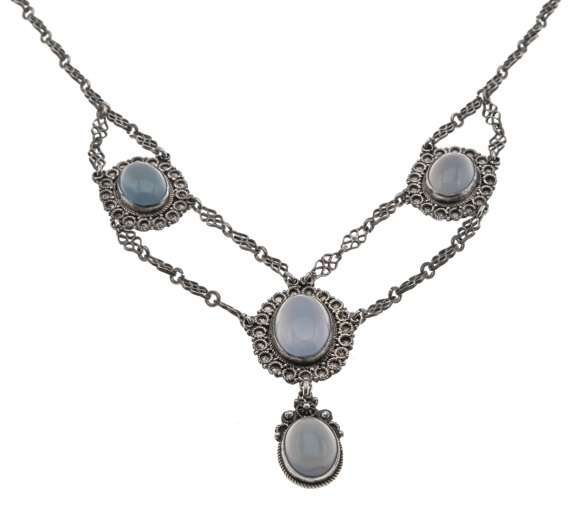 Ethereal Blue-  Victorian Arts & Crafts Sterling Silver Chalcedony Necklace               VICN022