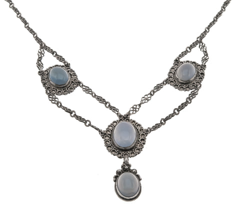 Ethereal Blue-  Victorian Arts & Crafts Sterling Silver Chalcedony Necklace  (VICN022)