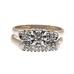 A Perfect Match - Vintage 14K Gold Diamond Wedding Set (VR430)