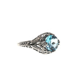 Blue Bayou - Estate Sterling Silver Blue Topaz Filigree Ring (ER131)