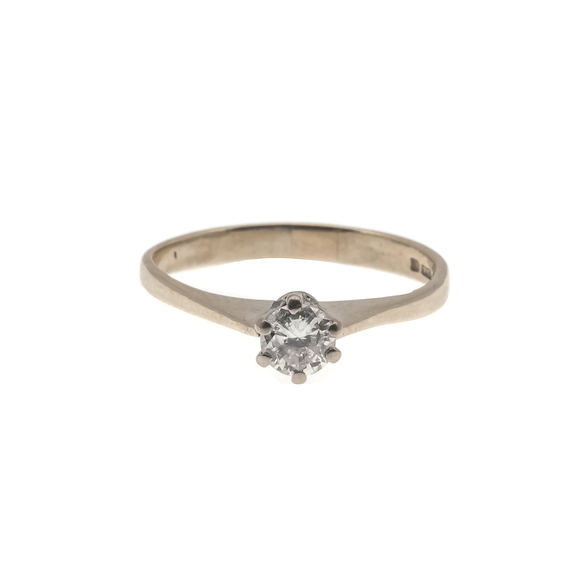 Everlasting Promise - Vintage 18K Diamond Solitaire Cathedral Ring (VR296)