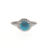 Heaven On Earth - Art Deco 10K Turquoise Filigree Ring (ADR090)