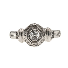 Ancient Art Deco  - Art Deco 18K White Gold Diamond Solitaire Ring (ADR166)