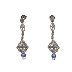 Captivating - Vintage 14K Sapphire & Diamond Earrings (VE097)