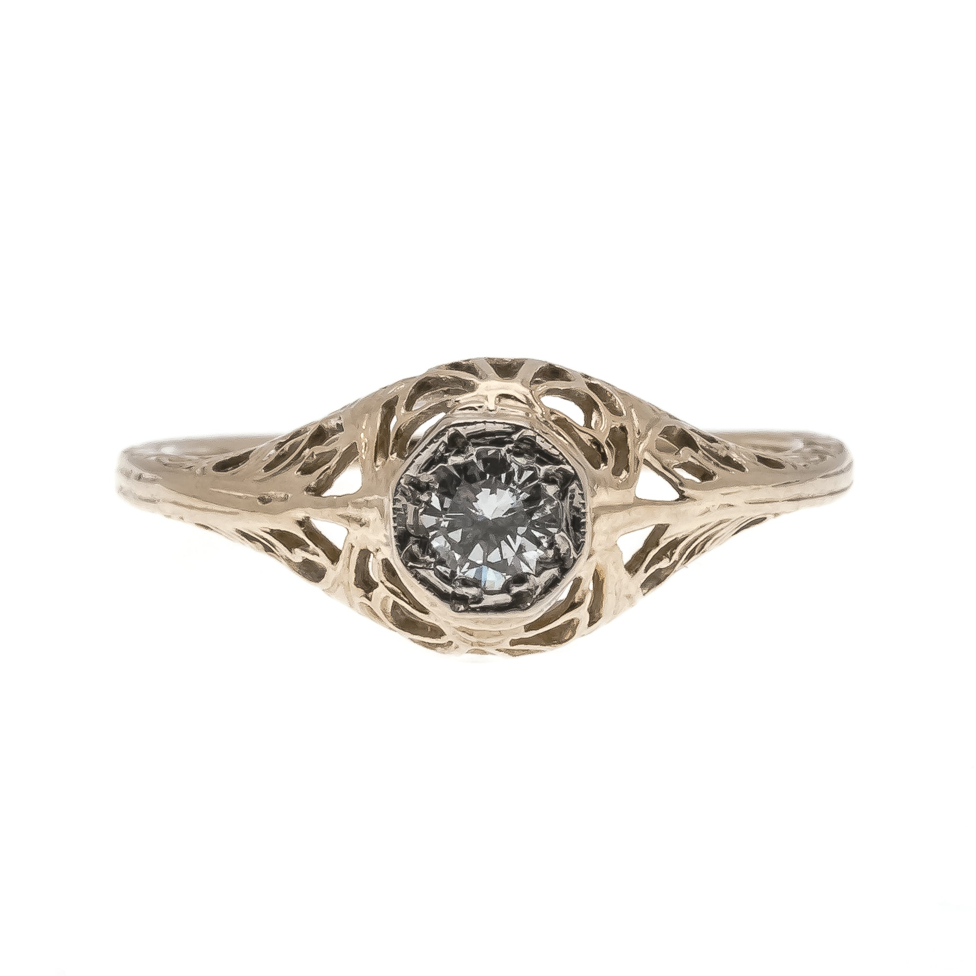 Lace Of Gold - Art Deco 14K Diamond Solitaire Filigree Ring (ADR169)
