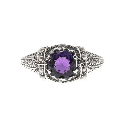Violets By The Sea- Estate Sterling Silver Amethyst & Seed Pearl Ring (ER160)