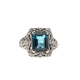 Sea Of Filigree - Estate Sterling Silver London Blue Topaz Ring