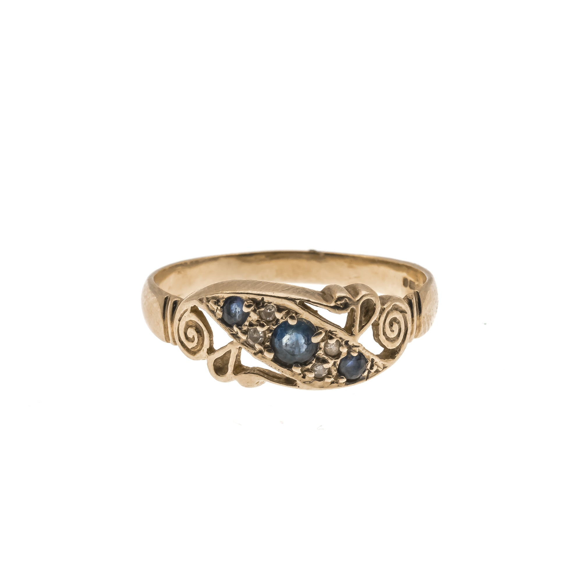 Diamonds, Sapphires & Scrolls ... Oh My - Vintage 9K Jewelled Ring (VR254)
