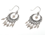 Tesoro De Perlas - Estate Sterling Silver Pearl Filigree Earrings                                        EE158