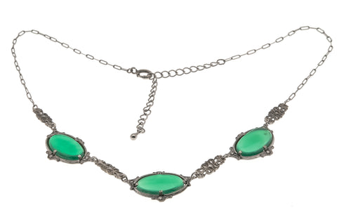 Black Forest - Art Deco Sterling Silver Chrysoprase & Marcasite Necklace