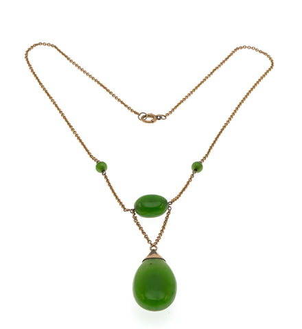 Edwardian Envy - Edwardian 9K Rose Gold Nephrite Jade Necklace                                               EDN016