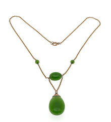 Edwardian Envy - Edwardian 9K Rose Gold Nephrite Jade Necklace  (EDN016)