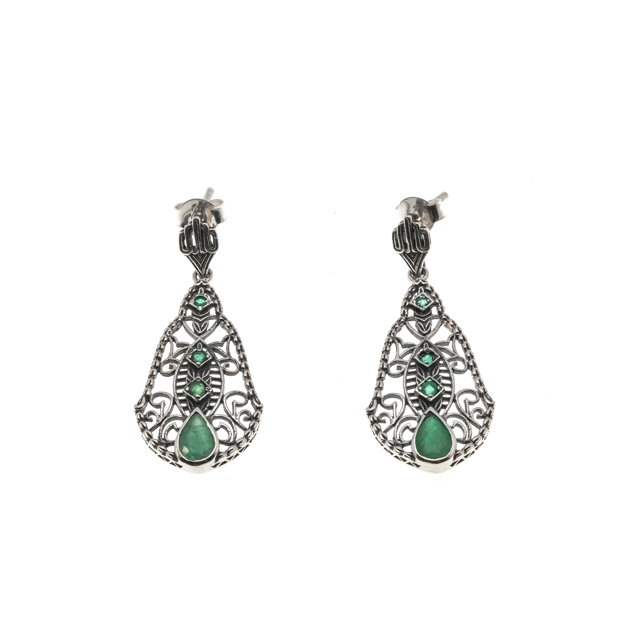 Green With Envy - Estate Sterling Silver Emerald Filigree Earrings