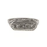 Yesterday, Today & Forever - Art Deco 18K Diamond Trilogy Filigree Ring
