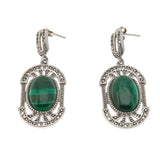 Shades Of Green - Vintage Sterling Silver Malachite & Prasiolite Earrings