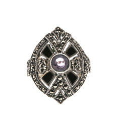 Art Deco Geometry- Vintage Sterling Silver Amethyst, Onyx & Marcasite Ring