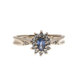 Blue Skies - Vintage 9K Gold Ceylon Sapphire & Diamond Ring (VR417)