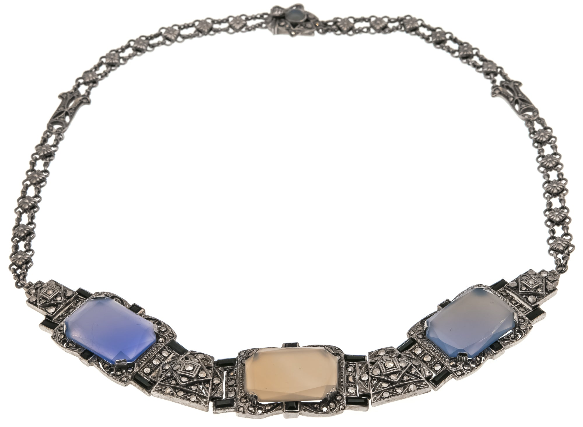 Mystical Jewels  - Art Deco Sterling Silver Chalcedony, Onyx & Marcasite Necklace (ADN059)