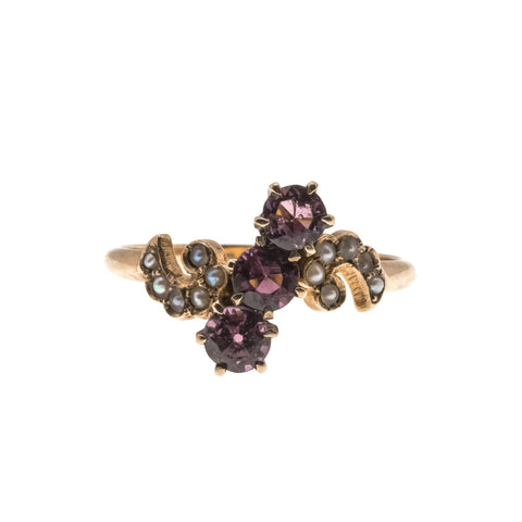 English Ivy -  Victorian 10K Rose Gold Amethyst & Natural Seed Pearl Ring (VICR086)