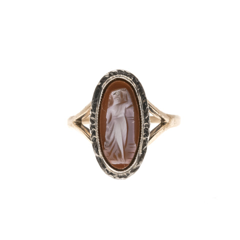 Aphrodite : The Deposition Of A Goddess   - Vintage 10K Carnelian Cameo Ring