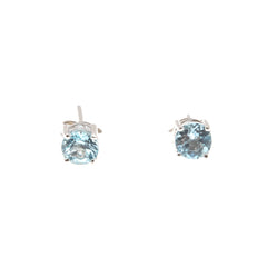 Aqua - Estate Sterling Silver Blue Topaz Stud Earrings (EE069)