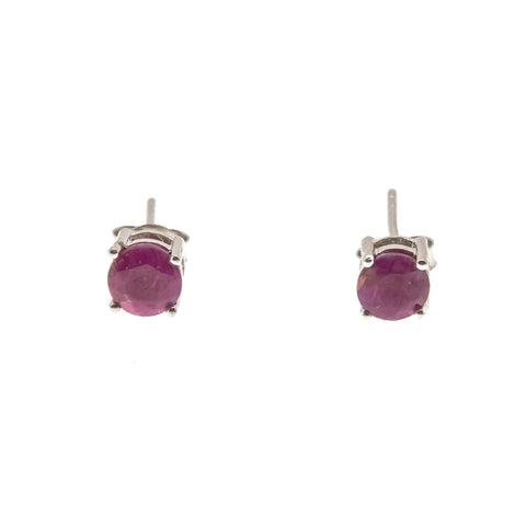 Scarlet Jewel - Estate Sterling Silver Ruby Stud Earrings (EE073)