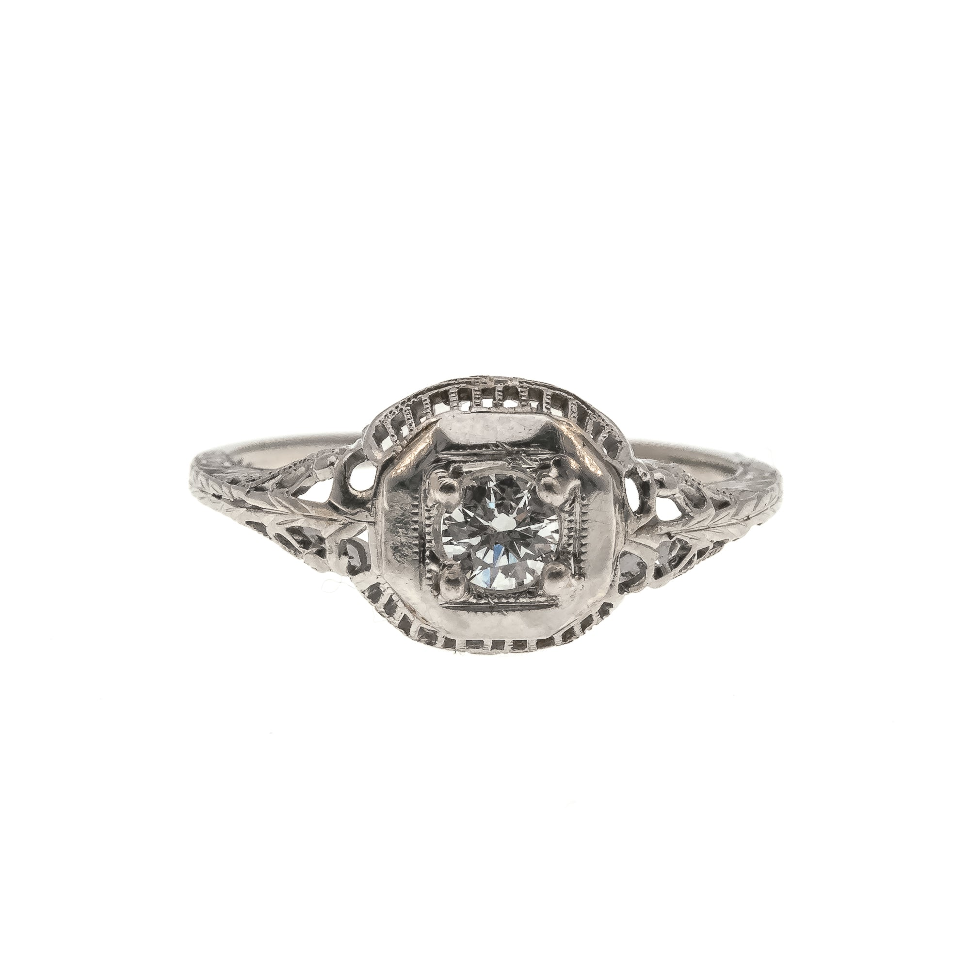 Art Deco Dream - 18K Diamond Filigree Ring (ADR096)