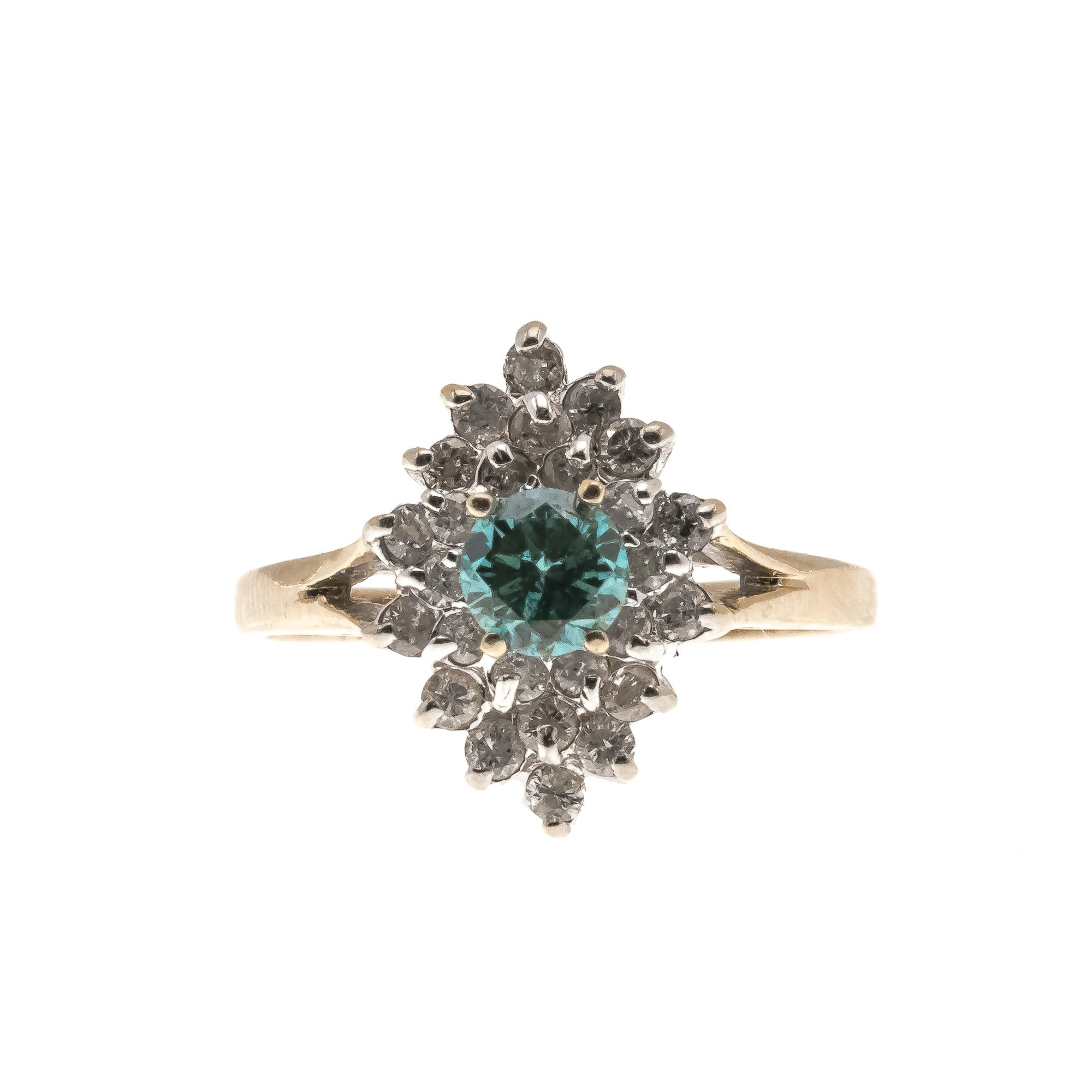 Exotic Seas -  Vintage 14K Blue & White Diamond Ring (VR328)