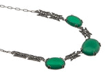 Nature's Garden - Art Deco Sterling Silver Chrysoprase & Marcasite Necklace
