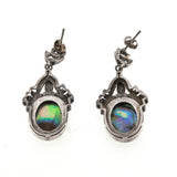 Opal Of the Sea - Vintage Sterling Silver Abalone & Marcasite Earrings (VE072)