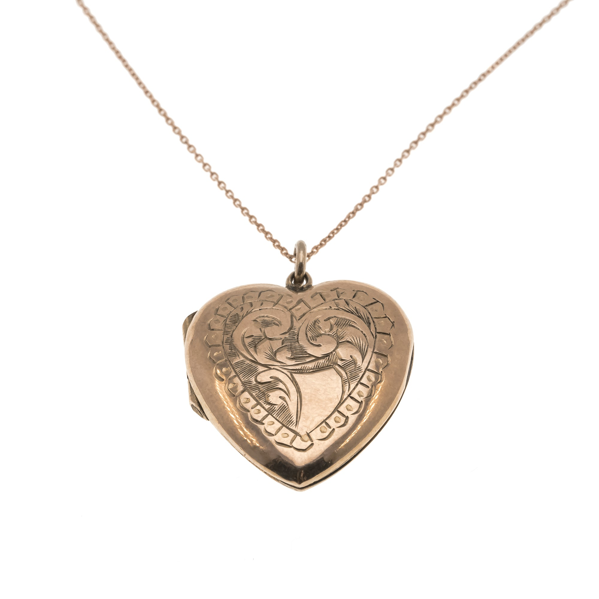All My Love - Victorian 9K Rose Gold Engraved Heart Locket (VICP027)