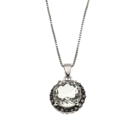 Contrast Of Gems - Estate Sterling Silver Green Amethyst & Diamond Pendant