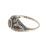 Fire Within - Estate Sterling Silver Fire Opal Filigree Ring (ER118)