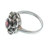 Red Red Wine - Vintage Sterling Silver Garnet & Marcasite Ring