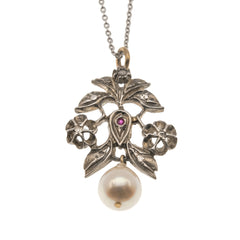 Georgian Rose Gold, Sterling Silver Diamond,  Ruby & Pearl Pendant (GP004)