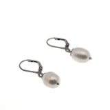 Les Perles Blanches - Estate Sterling Silver Baroque Pearl Earrings (EE098)