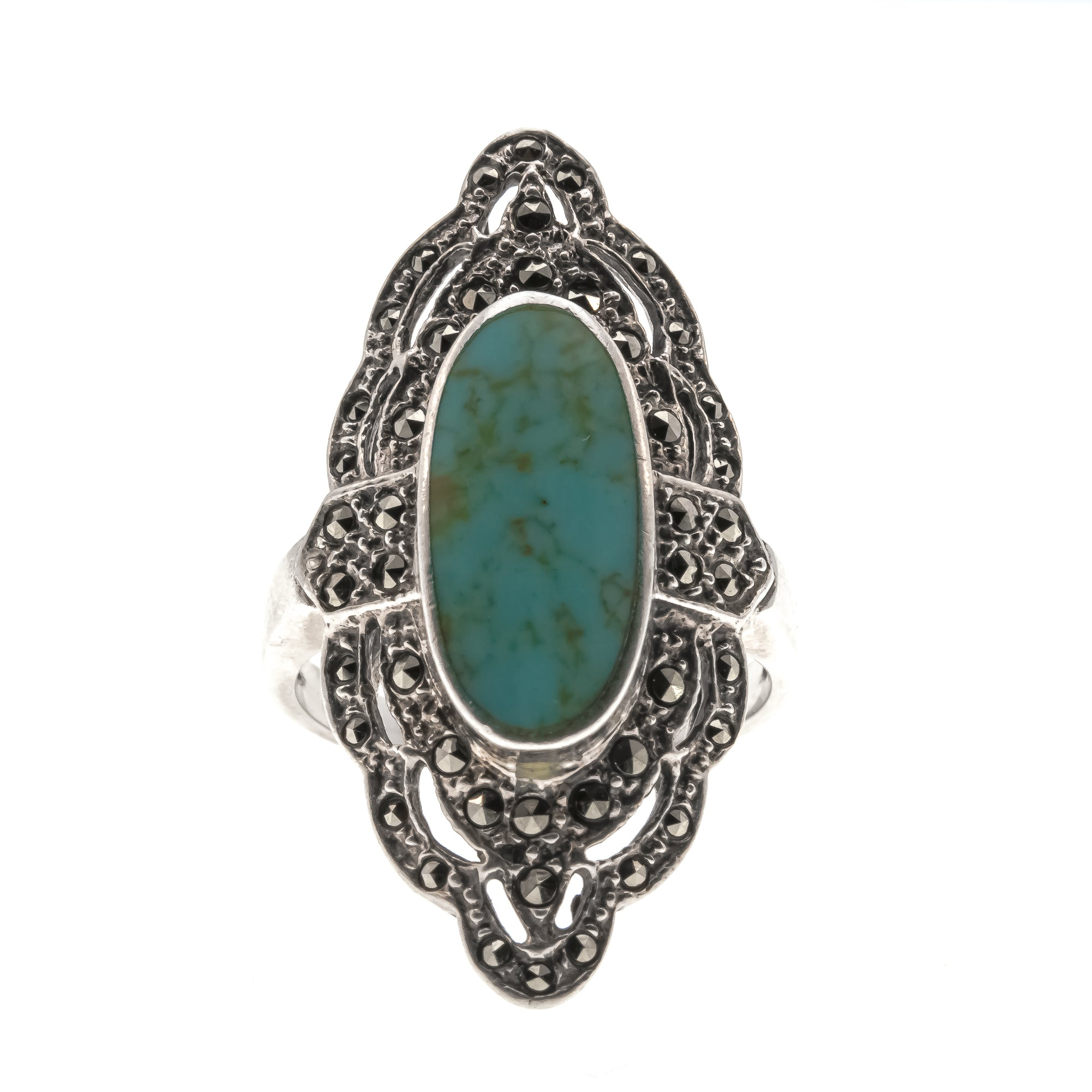 Glistening Sea - Vintage Sterling Silver Turquoise & Marcasite Ring (VR434)