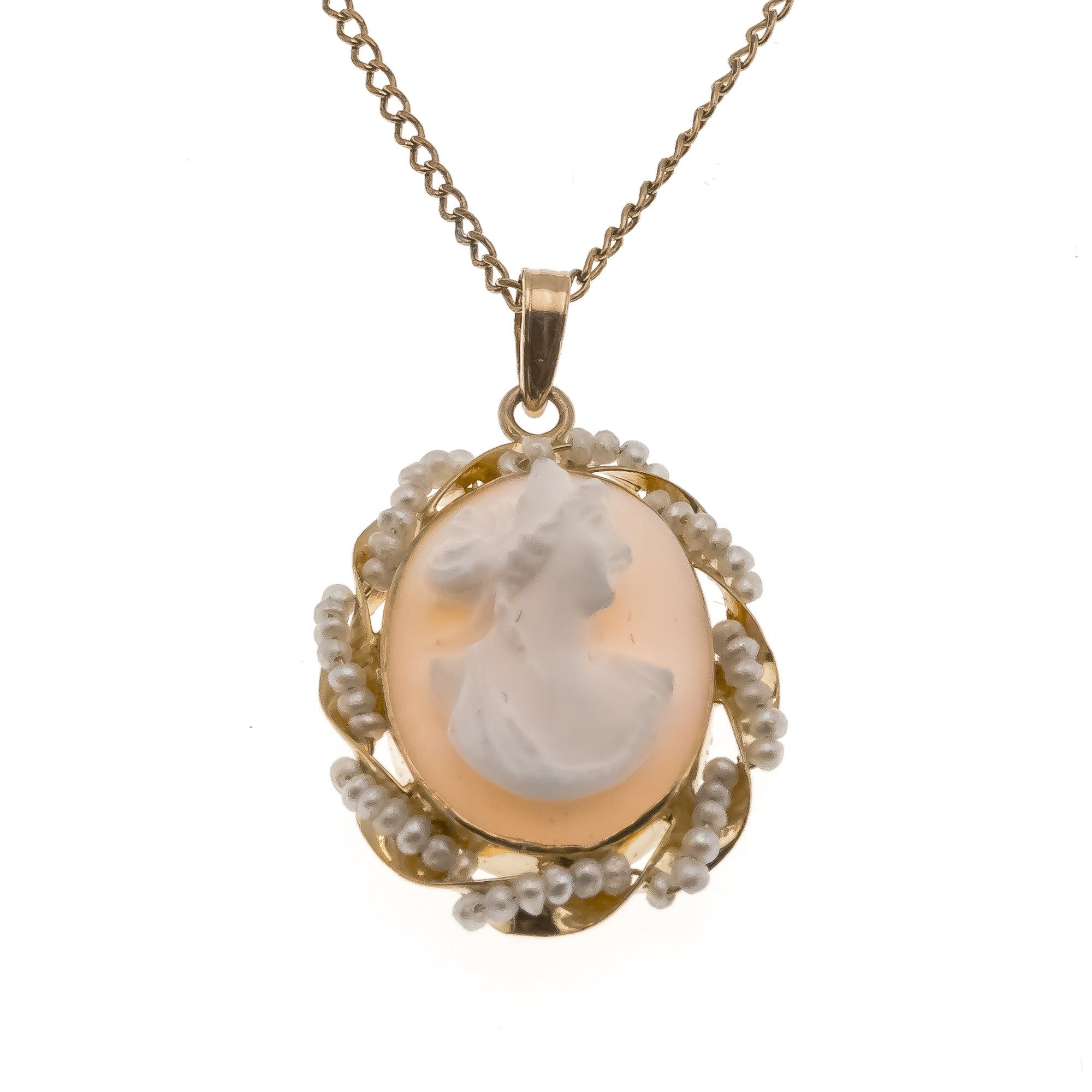 Age Of Innocence - Victorian 10K Cameo & Seed Pearl Pendant    (VICP042)