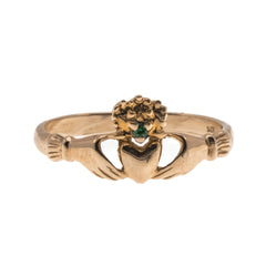 A Ghrá  -  Victorian 10K Rose Gold Emerald Claddagh Ring (VICR107)