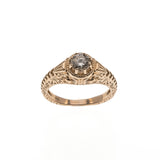Romantic Proposal - Vintage 14K Rose Gold Diamond Ring (VR338)