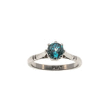 Out Of The Blue - Art Deco Platinum Blue Zircon Solitaire Ring (ADR132)