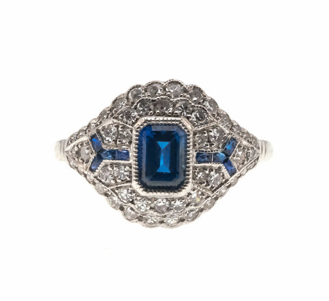 Sea Of Sapphires & Diamonds - Vintage Platinum Sapphire & Diamond Ring                                      VR375