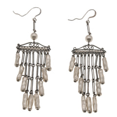 Art Deco Sterling Silver Pearl Flapper Earrings