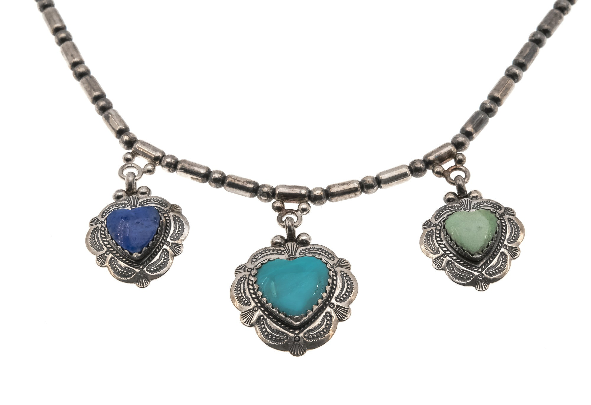 Four Shades of Grey & Blue- Vintage Sterling Silver Turquoise Heart Necklace (VN021)