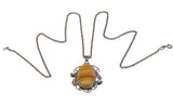 Arabesques -Art Deco Sterling Silver Agate Pendant