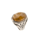 Retro Translucence - Art Deco Sterling Silver Agate Gents Ring