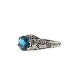Classic - Estate Sterling Silver London Blue Topaz Filigree Ring