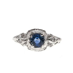 Aglow -  Art Deco 14K White Gold Sapphire & Diamond Filigree Ring (ADR175)