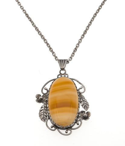 Arabesques -Art Deco Sterling Silver Agate Pendant (ADP002)