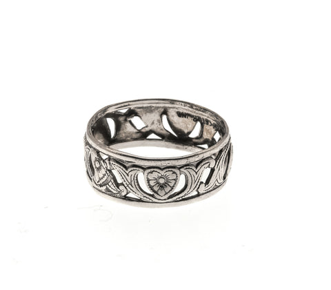 Art Deco Sterling Silver Heart & Scroll Band